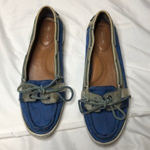 "Coach ""Rainey"" Canvas logo Boat Shoes. Siz…"